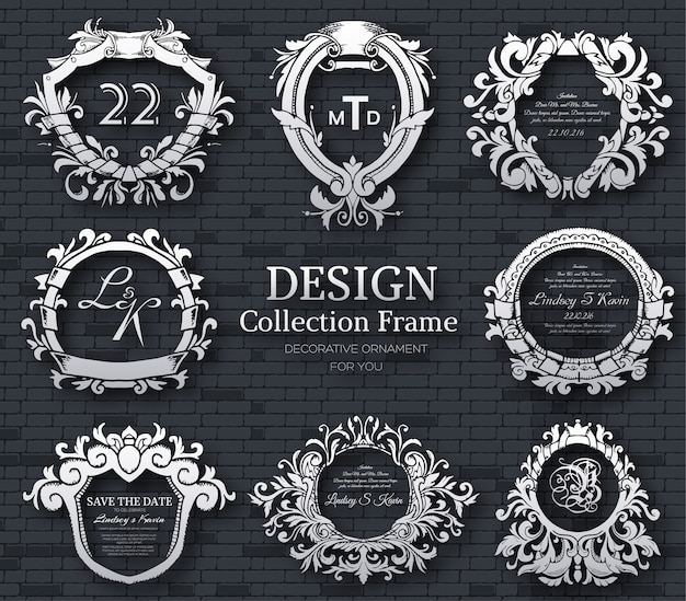 Luxury label or king place symbol element with decorative calligraphy object set.