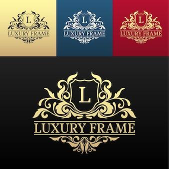 装飾的な書道オブジェクトセットと高級ラベルまたはキングプレイスシンボル要素 Premiumベクター