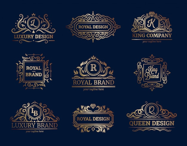 Luxury labels design set with premium quality symbols flat isolated vector illustration