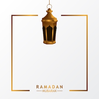 Luxury lantern lamp with white background for islamic event
