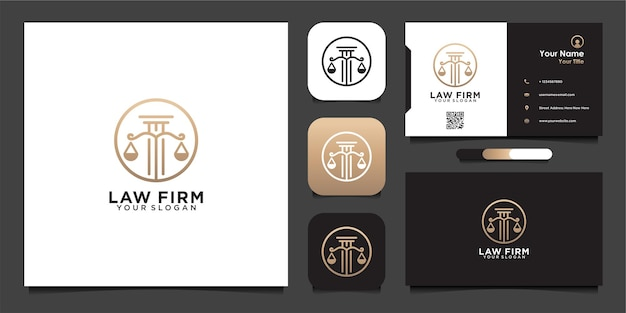 Luxury law firm logo design template and business card