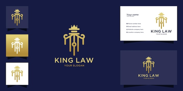 Luxury law king logo with line art concept