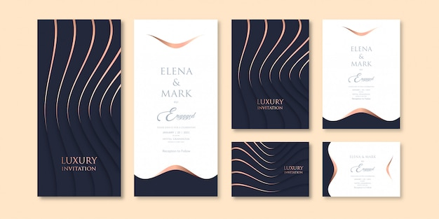 Luxury layered art dark color theme invitation template with three variations