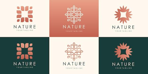 럭셔리 리프 원형 골드 로고 디자인. 선형 보편적 인 잎 꽃 로고