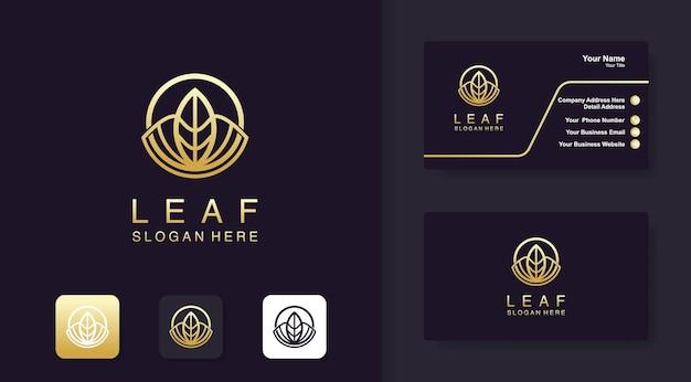 Luxury leaf in circular logo design and business card