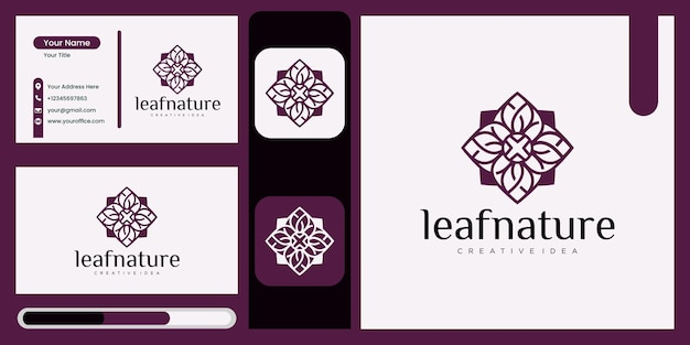 Luxury leaf concept abstract green leaf symbol for nature style company, yoga, beauty with natural concept