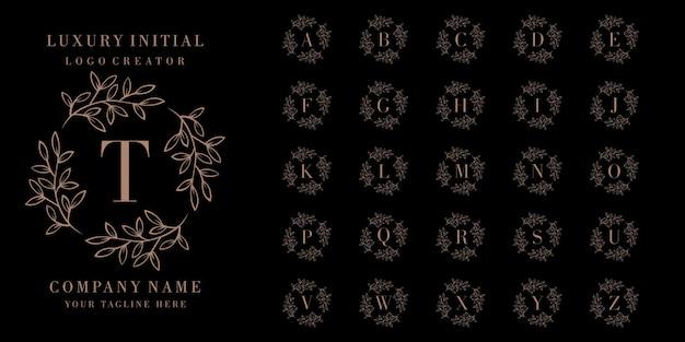 Luxury leaf initial badge logo