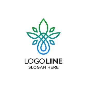 Luxury leaf and water with line art logo design