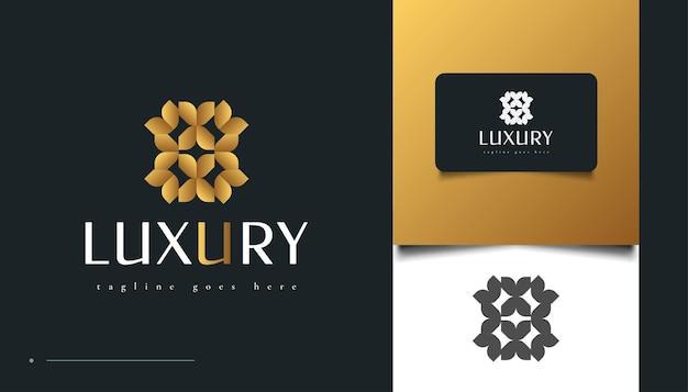 豪華な葉のロゴデザインをゴールドグラデーションで。美容、スパ、またはホテルのロゴのアイデンティティのための花のロゴ