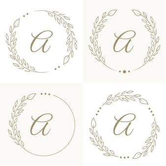 Роскошное письмо a дизайн логотипа с цветочной рамкой фона шаблона