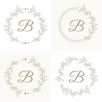 Luxury letter b logo design with floral frame background template