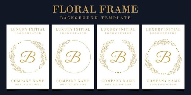 Luxury letter b logo design with floral frame