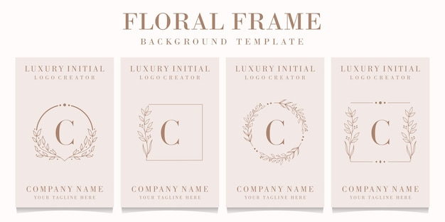 Luxury letter c logo design with floral frame background template