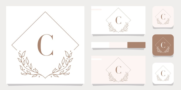 Luxury letter c logo design with floral frame template, business card design