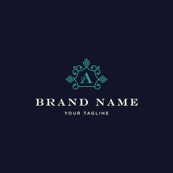 Luxury letter a classic vintage ornament logo turquoise color