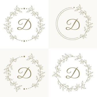 Luxury letter d logo design with floral frame background template