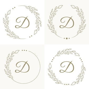 花柄の背景テンプレートを使用した豪華な文字dのロゴデザイン