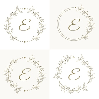 Luxury letter e logo design with floral frame background template