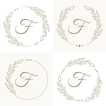 Luxury letter f logo design with floral frame background template