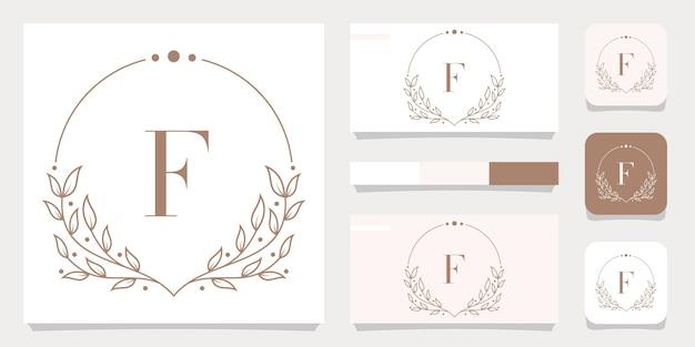 花のフレームテンプレート、名刺デザインと豪華な文字fロゴデザイン