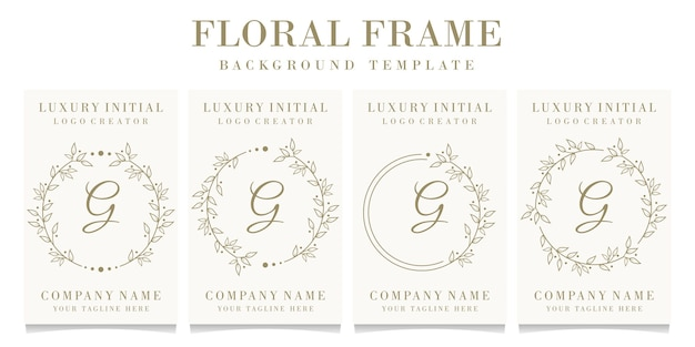 Luxury letter g logo design with floral frame background template