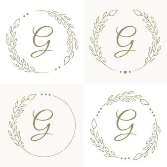花のフレームの背景テンプレートと豪華な文字gロゴデザイン