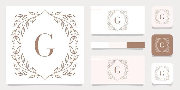 花のフレームテンプレート、名刺デザインと豪華な文字gロゴデザイン