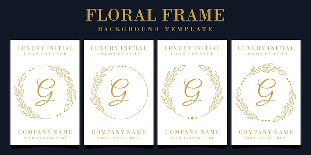Luxury letter g logo design with floral frame