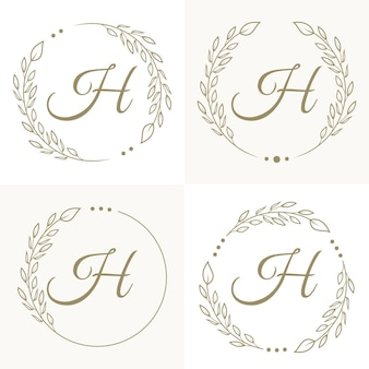 Luxury letter h logo design with floral frame background template