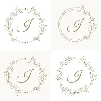 Luxury letter i logo design with floral frame background template