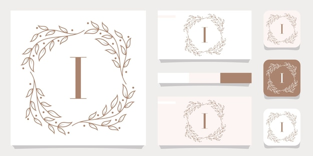 Luxury letter i logo design with floral frame template, business card design