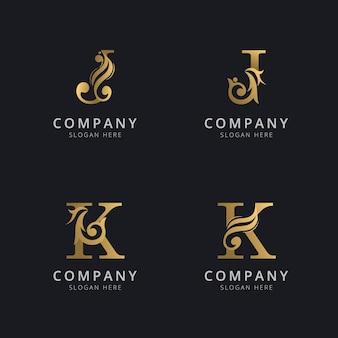 ゴールドカラーのロゴテンプレートが付いた豪華な文字jとk