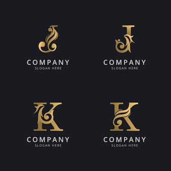 Luxury letter j and k with gold color logo template