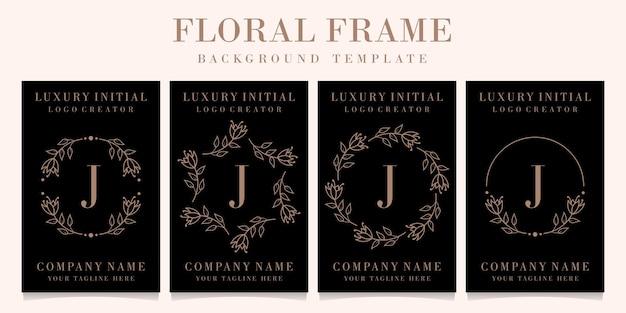 Luxury letter j logo design with floral frame background template