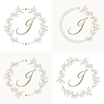 Роскошный дизайн логотипа буква j с цветочным узором фона шаблона
