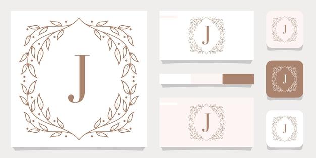 Luxury letter j logo design with floral frame template, business card design