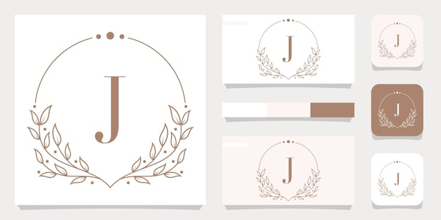 Luxury letter j logo design with floral frame template, business card design