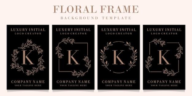 Luxury letter k logo design with floral frame background template