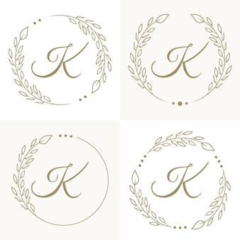 Luxury letter k logo design with floral frame background template