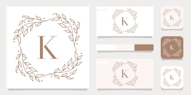 Luxury letter k logo design with floral frame template, business card design