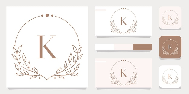 Роскошный дизайн логотипа буква k с цветочным шаблоном рамки, дизайн визитной карточки