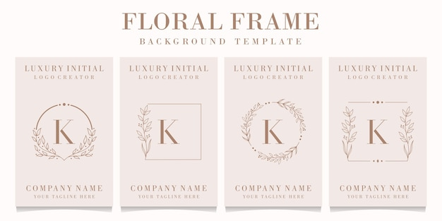 Luxury letter k logo design with floral frame template