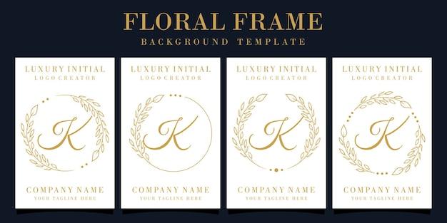 Luxury letter k logo design with floral frame