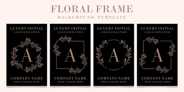 Luxury letter a logo design with floral frame background template