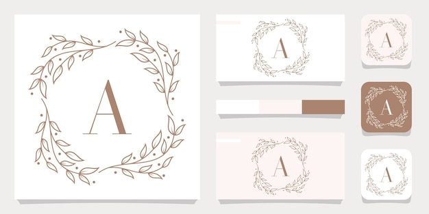 Luxury letter a logo design with floral frame template, business card design