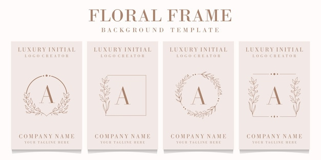 Luxury letter a logo design with floral frame template