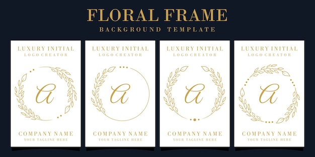 Luxury letter a logo design with floral frame