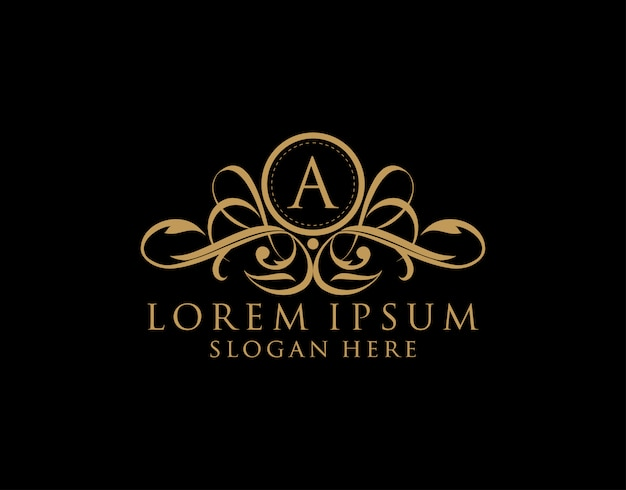 Luxury a letter logo, premium royal badge for restaurant, royalty, boutique,wedding, hotel, heraldic, jewelry, fashion and label.