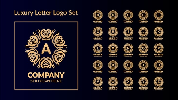 Luxury letter logo set with golden style
