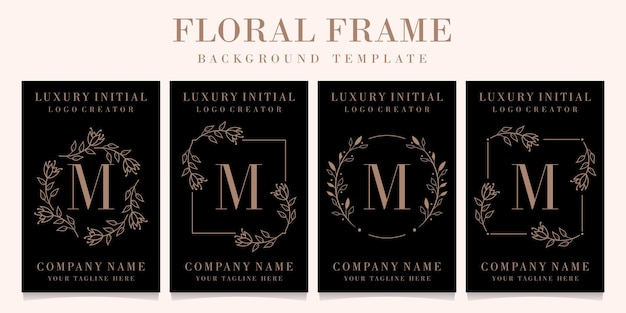 Luxury letter m logo design with floral frame background template